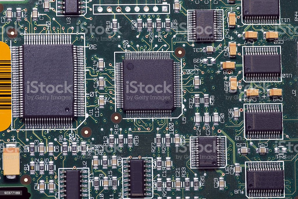 Close-up on a microchip royalty-free stock photo