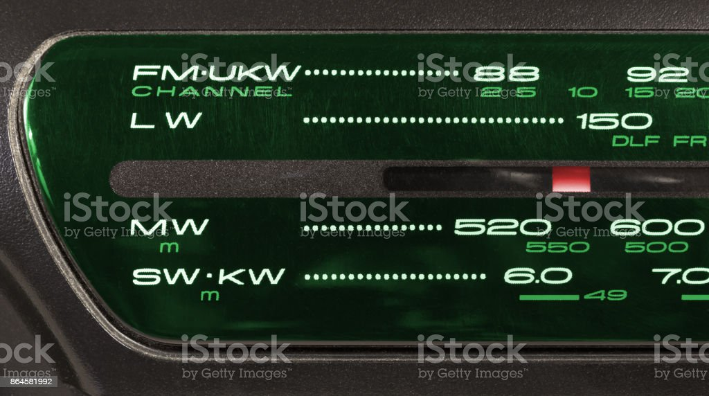 Closeup on a Radio Tuner stock photo