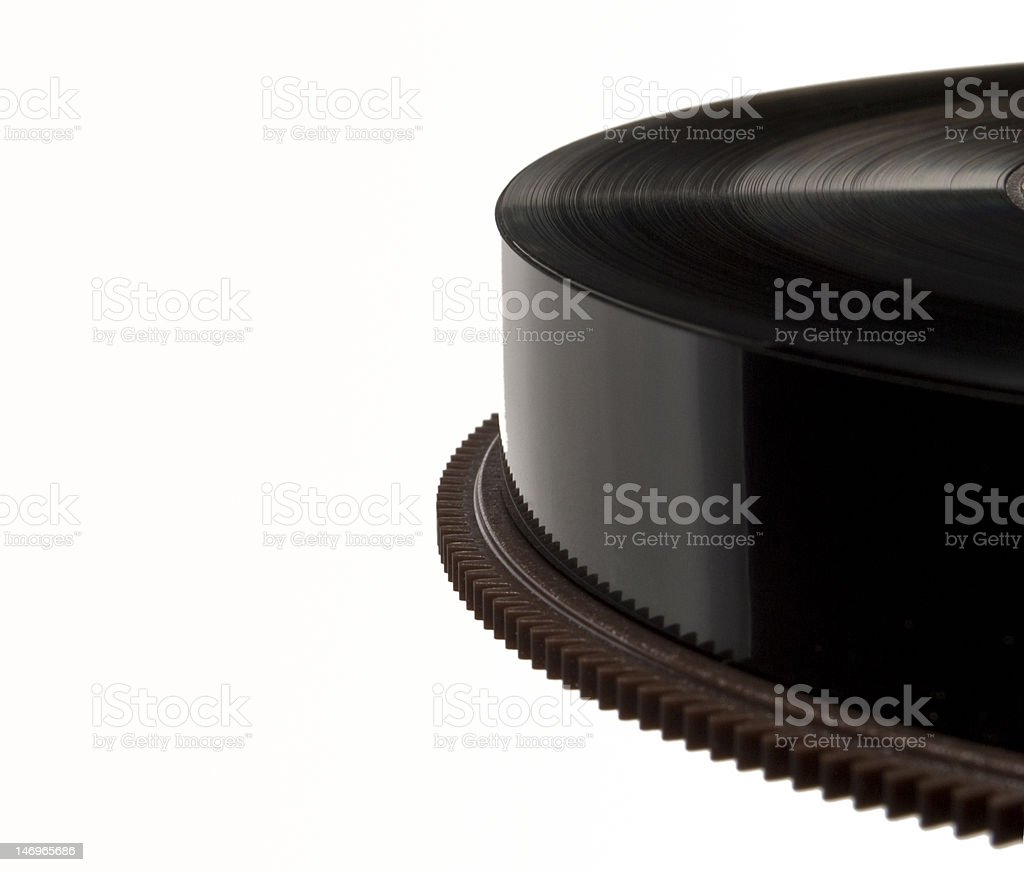 Closeup on a reel of black backup magnetic tape royalty-free stock photo