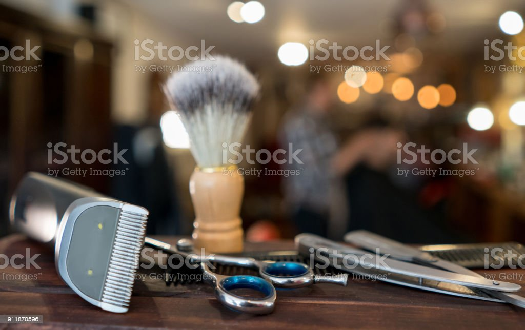 Close-up on a set of shaving tools at a barber shop stock photo
