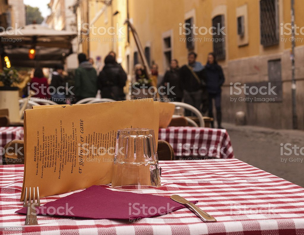 Close-up on a table of an outdoor Italian restaurant stock photo