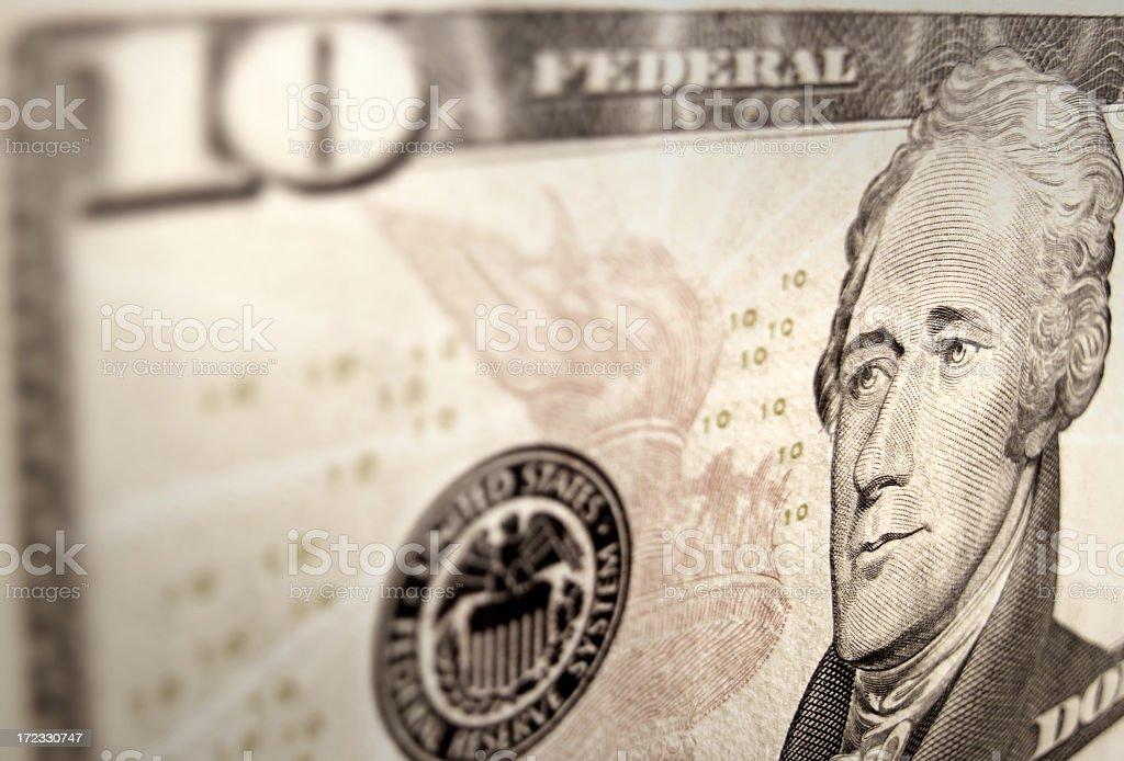 Close-up on a ten dollar bill (10$US) stock photo