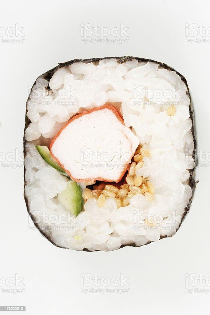 Close-up on a traditional Japanese nori-wrapped futomaki sushi o royalty-free stock photo