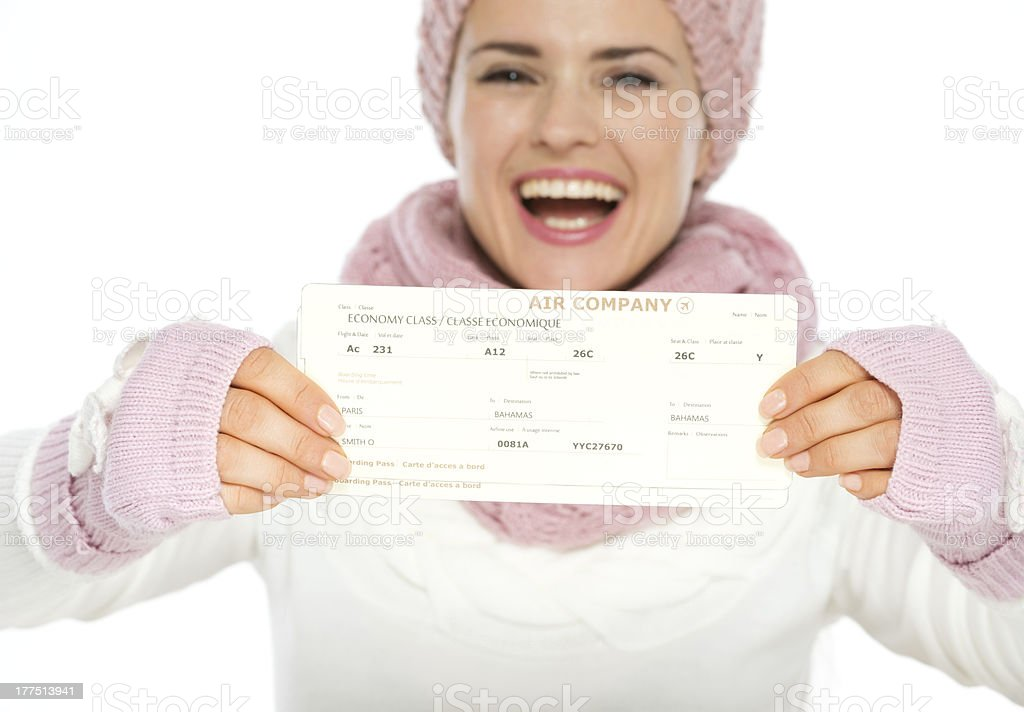 Closeup on air tickets in hand of woman royalty-free stock photo