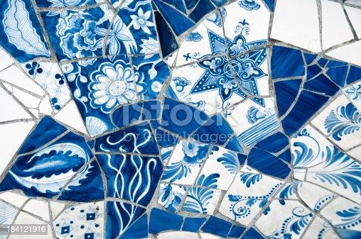 istock Close-up on Antique Dutch Delft Blue Mosaic Tiles 184121916