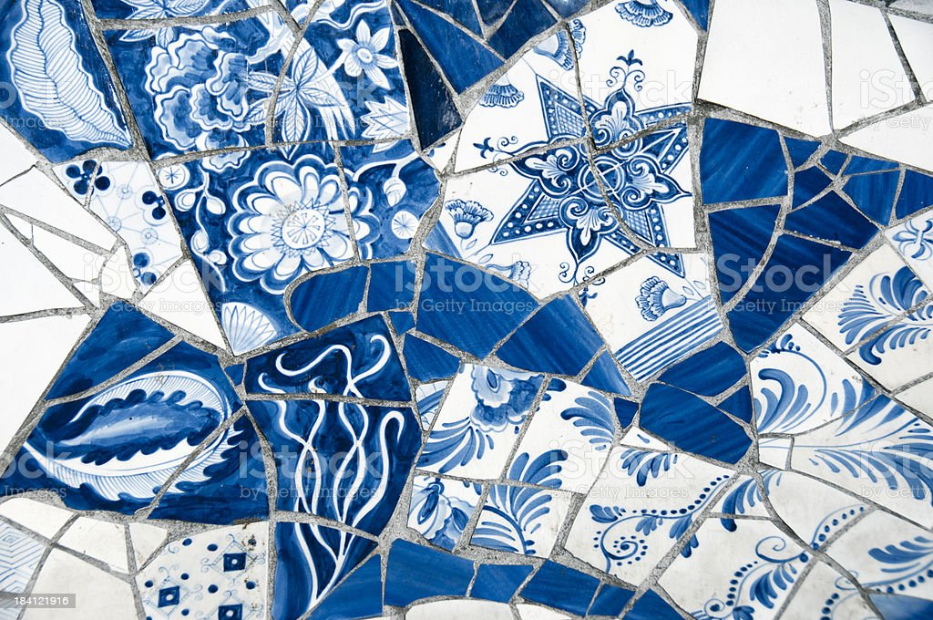 Close-up on Antique Dutch Delft Blue Mosaic Tiles stock photo