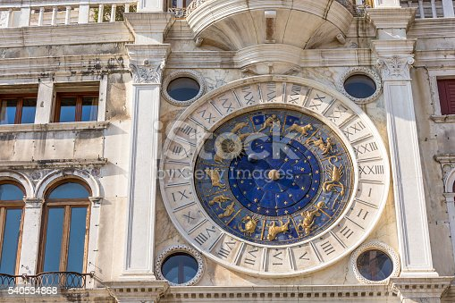 istock Closeup on Astronomical clock in square San Marco, Venice, Italy 540534868
