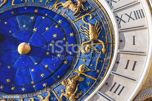 istock Closeup on Astronomical clock in square San Marco, Venice, Italy 540534916