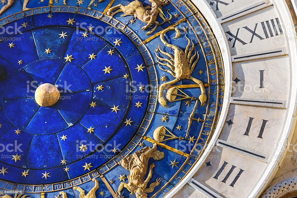 Closeup on Astronomical clock in square San Marco, Venice, Italy stock photo