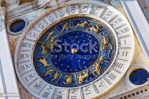 istock Closeup on Astronomical clock in square San Marco, Venice, Italy 540534978