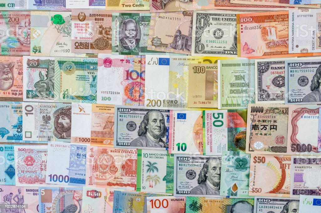 Closeup On Banknotes Collection From All Around World Stock