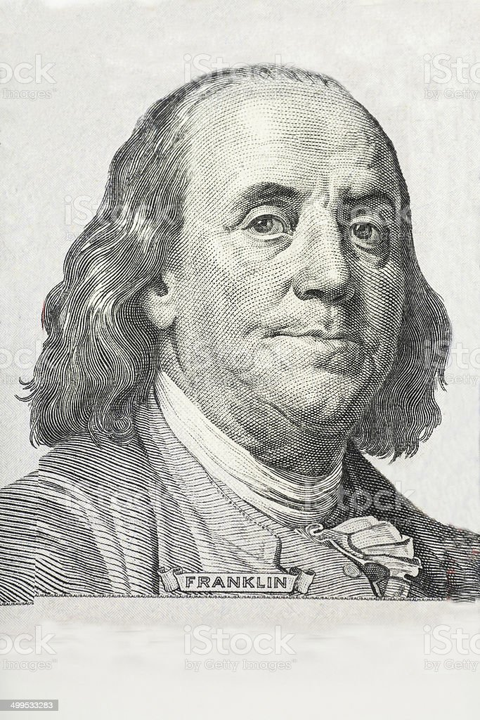 Close-up on Benjamin Franklin stock photo