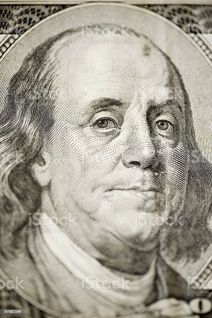 Close-up on Benjamin Franklin royalty-free stock photo