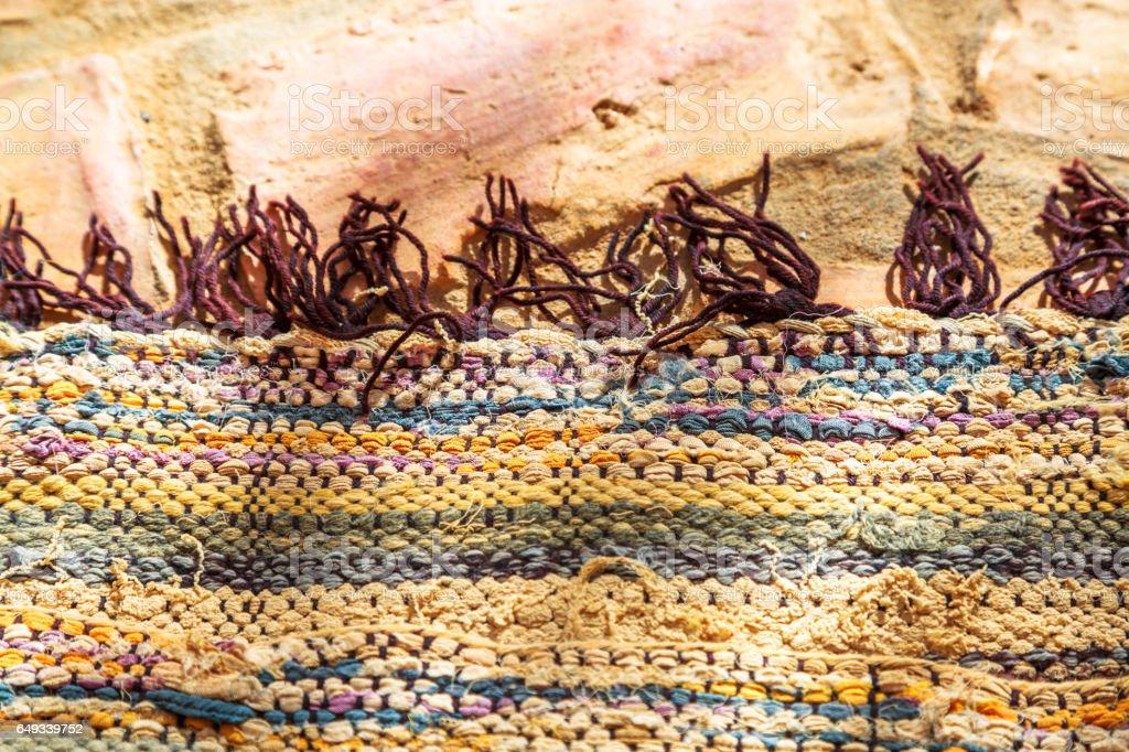 Closeup on berber nomad carpet stock photo