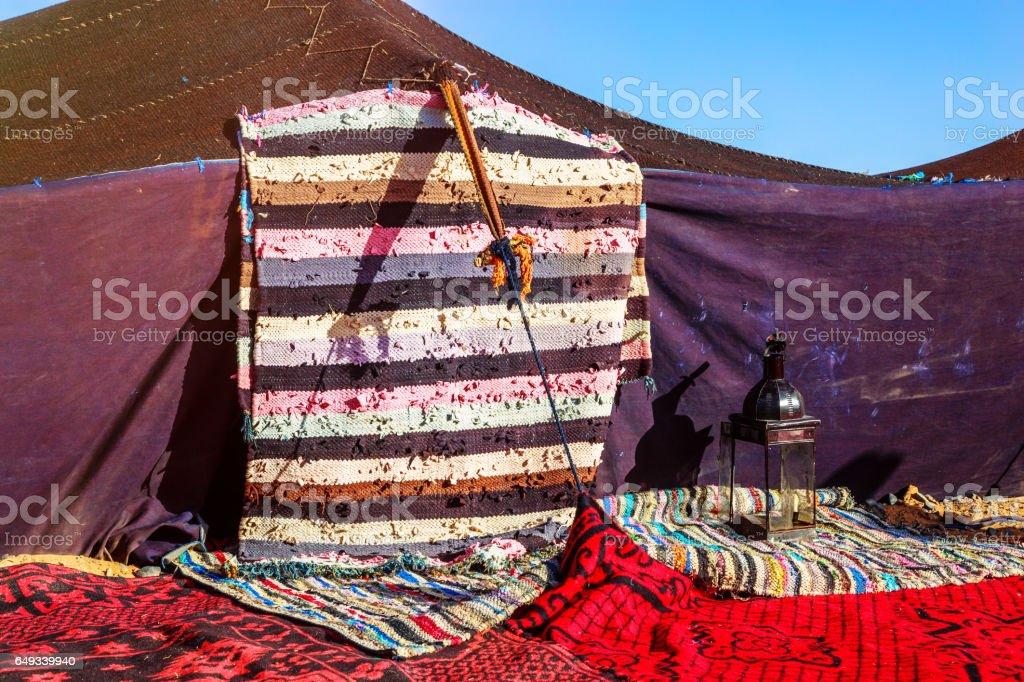 Closeup on berber nomad tents on morocco desert stock photo