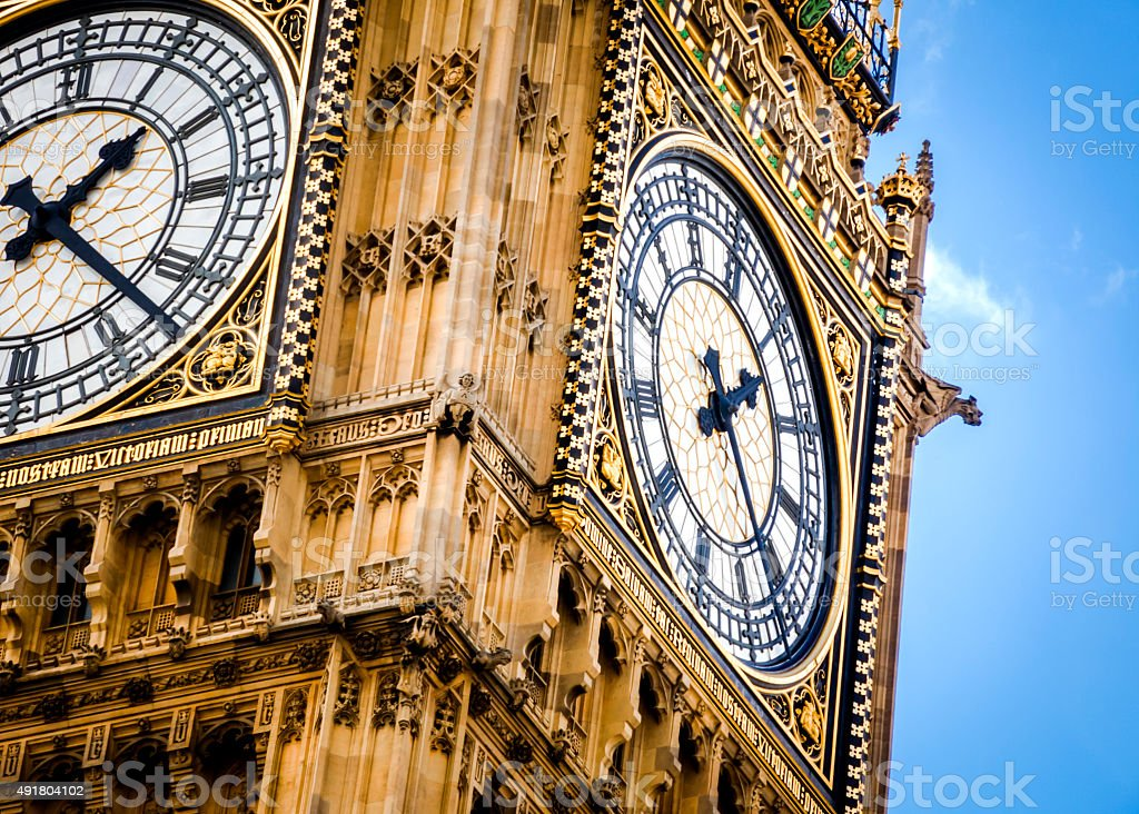 Close-up on Big Ben on a cloudy day stock photo