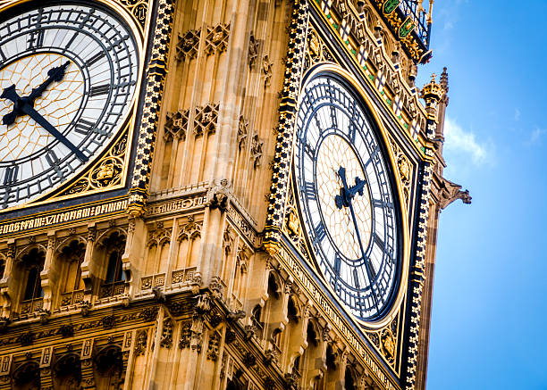 close-up on big ben on a cloudy day - big ben stock photos and pictures