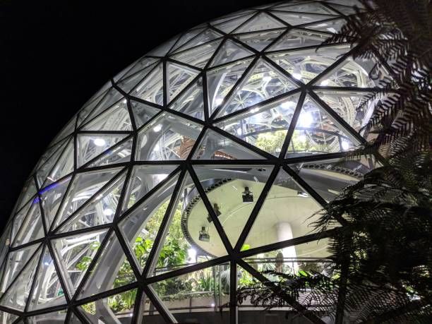 Close-up on Biosphere Dome at Amazon.com Headquarters stock photo
