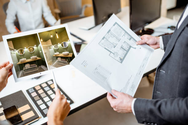 Close-up on blueprints with an architectural project in the office stock photo