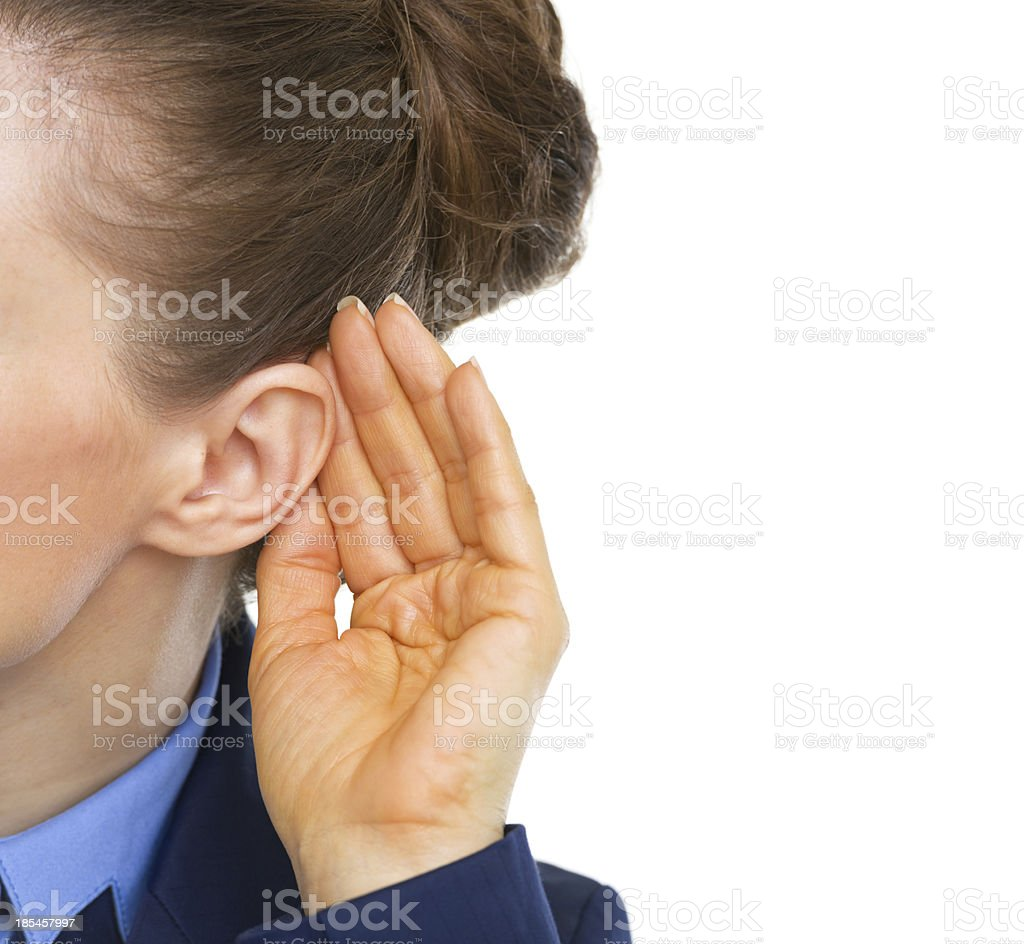 Closeup on business woman listening royalty-free stock photo