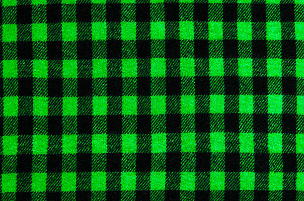 Closeup on checkered tablecloth wool fabric. stock photo