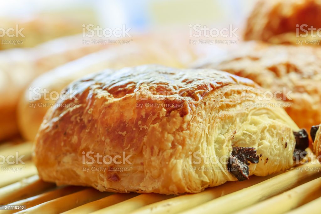 closeup on chocolate bread in french pastry shop stock photo
