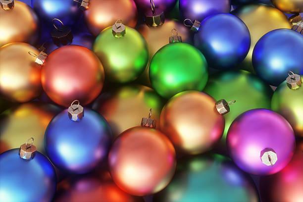 close-up on colorful christmas decor balls - meerdere lagen effect stockfoto's en -beelden