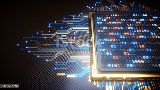 istock Close-up On CPU With Binary Numbers 901627782