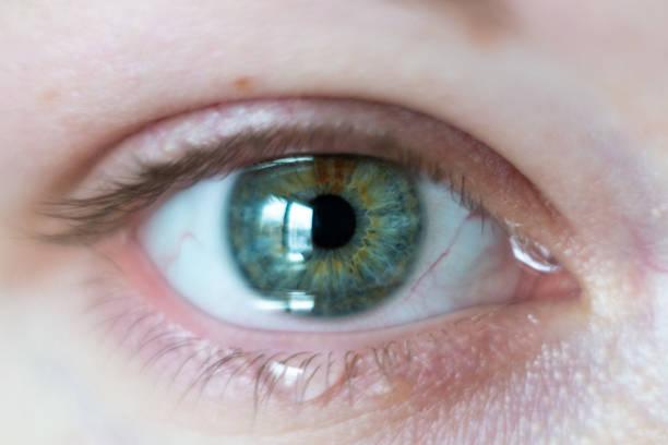 close-up auf weibliche grüne augen - träne stock-fotos und bilder