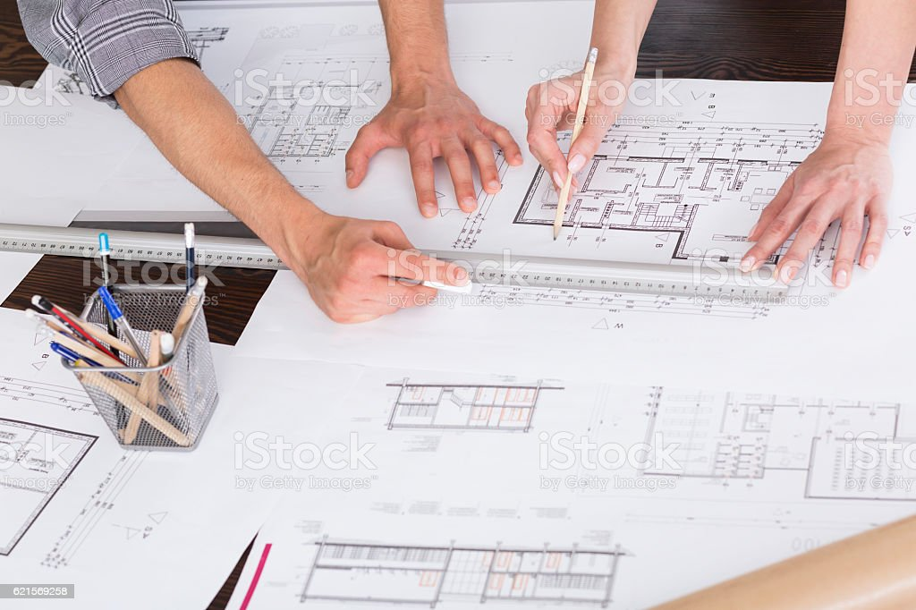 Close-up on hands of architects foto stock royalty-free
