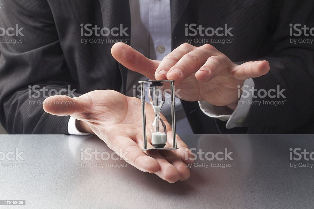 closeup on hourglass at the office royalty-free stock photo