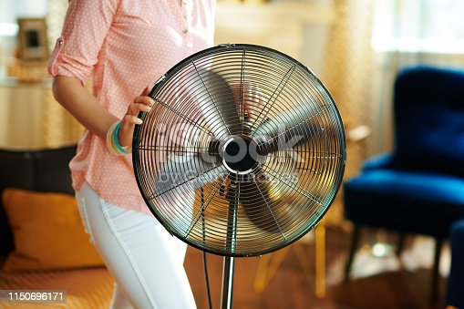 istock Closeup on housewife swtitching on metallic floor standing fan 1150696171