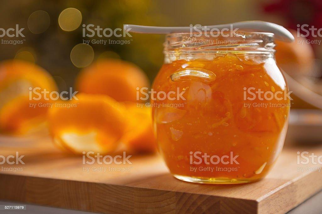 closeup on jar with orange jam stock photo