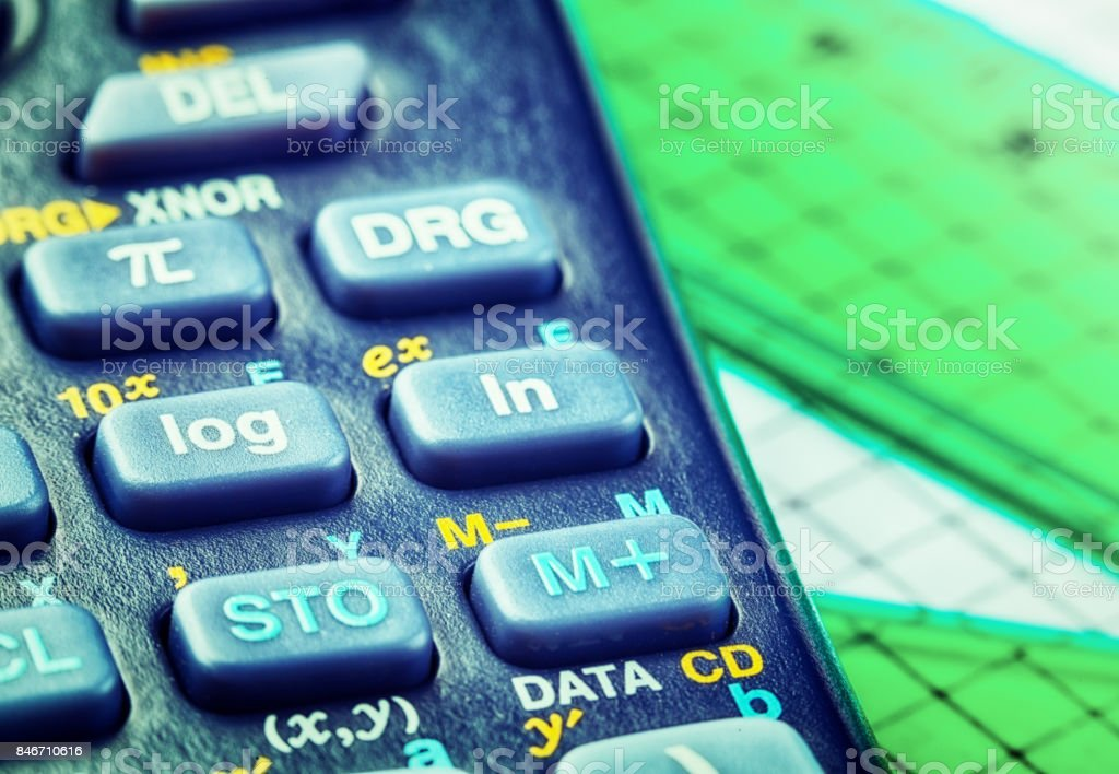 Close-up on keypad of scientific calculator stock photo