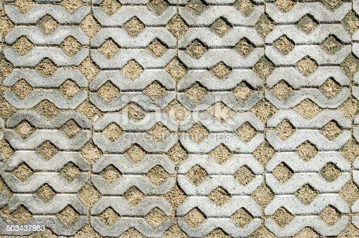 closeup on  block paving