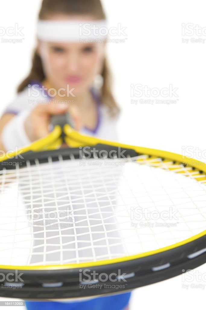 Closeup on racket in hand of tennis player royalty-free stock photo