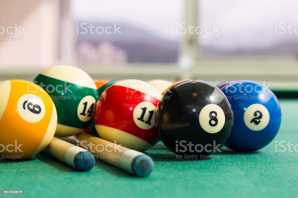 Closeup on snooker billards cue, chalk, balls on table – Foto