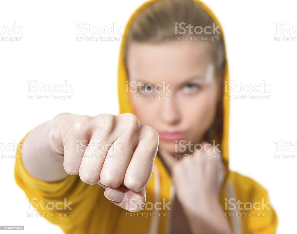 Closeup on teenager girl punching royalty-free stock photo