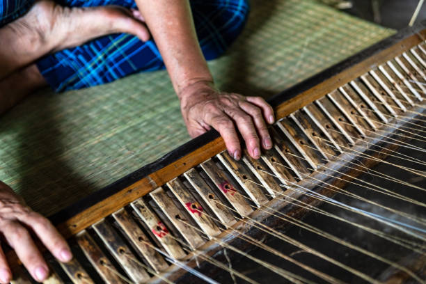 Close-up on the hands of an old woman weaving sedge mat in Ben Tre, Mekong delta region, Vietnam. stock photo
