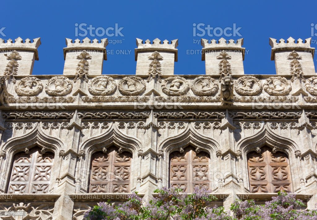 Closeup on the Silk Market Palace in Valencia stock photo