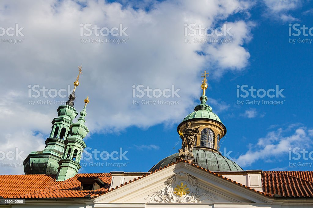 Close-up on towers of The Strahov Monastery, Czech Republic royalty-free stock photo