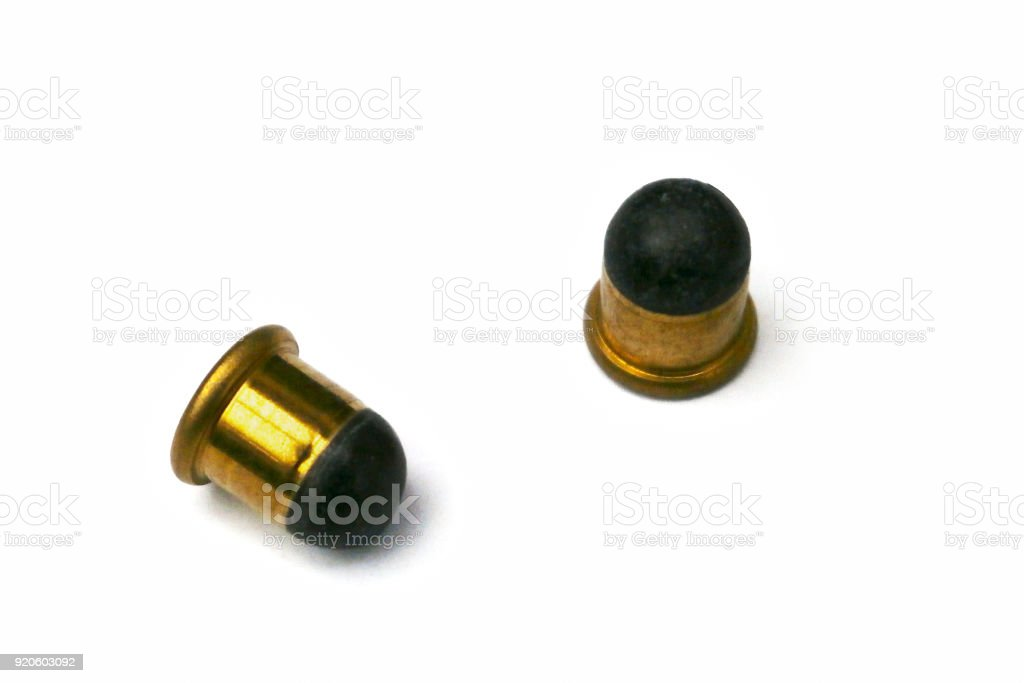 Close-up on two .22 BB caps stock photo