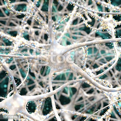istock Close-up on white neurons with particles 1007281378