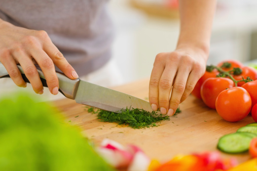 Closeup On Woman Cutting Fresh Dill Stock Photo - Download Image Now
