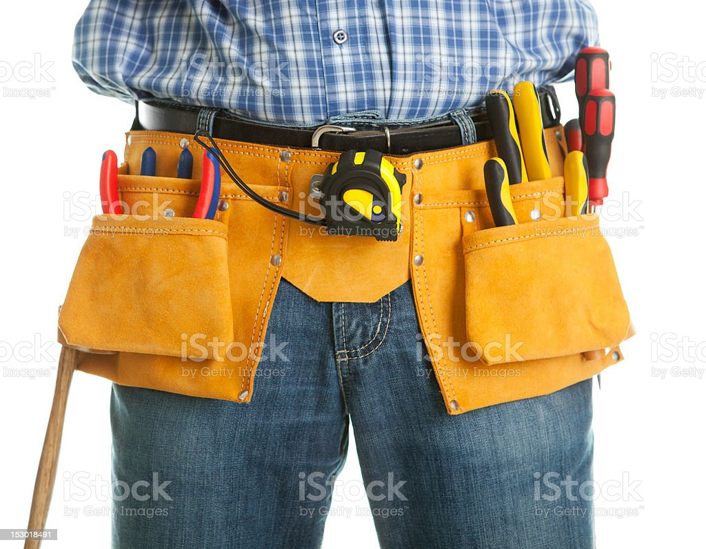 Close-up on worker's toolbelt royalty-free stock photo