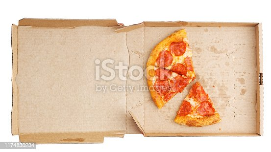 Closeup open box with pepperoni pizza leftovers isolated on white. Top view.