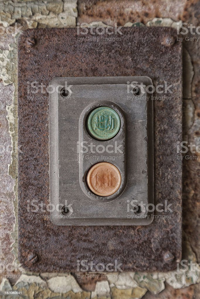 Closeup  operation panel rust texture with start and stop button royalty-free stock photo