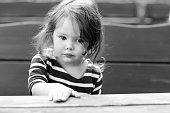 istock Close-up outdoor portrait of beautiful adorable toddler girl 678670526