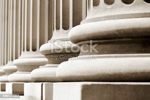 Closeup pedestals of classical columns, full frame horizontal composition