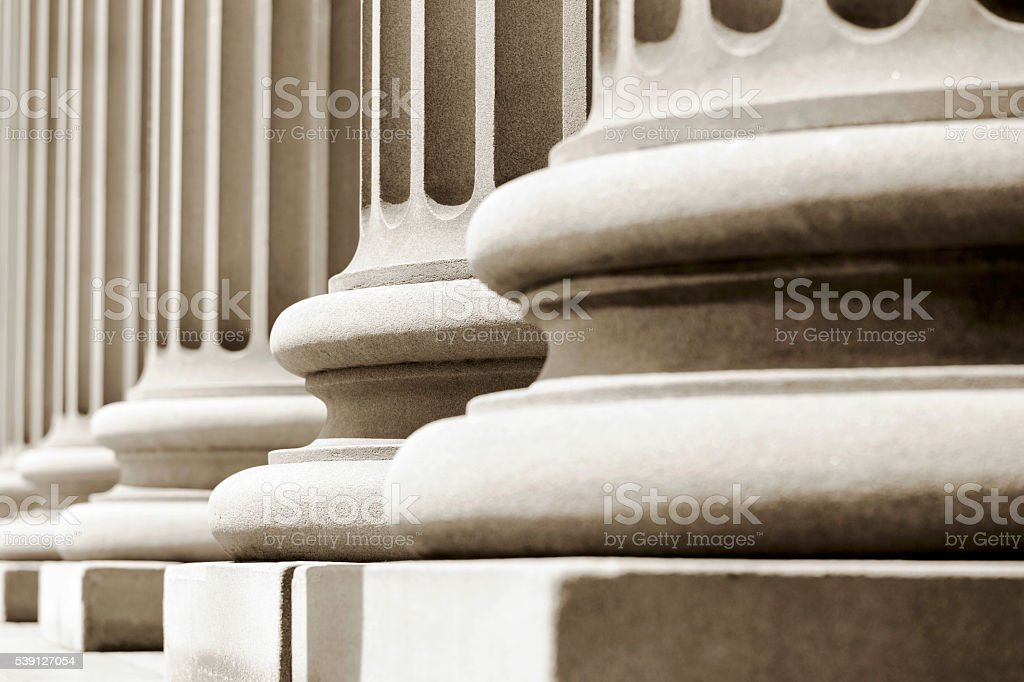Closeup pedestals of classical columns stock photo